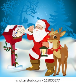Christmas mail  , Santa Claus holding a bunch of letters