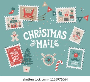 Christmas mail set with Christmas elements on stamps. Merry Christmas and happy New year emblem, sign. Carousel with horses, garlands, gifts, Christmas trees, socks. For tags, label, poster, postcard