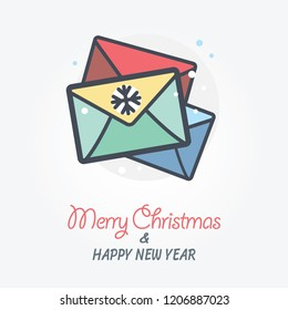 Christmas mail vector icon