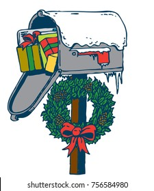Christmas Mailbox. A mailbox covered in snow stuffed with gifts with a wreath and bow. Isolated vector graphic art suitable for ads, shirts, posters, banners and more.