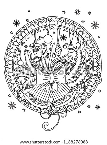 christmas mandala coloring page adult coloring book holiday decor bells balls and