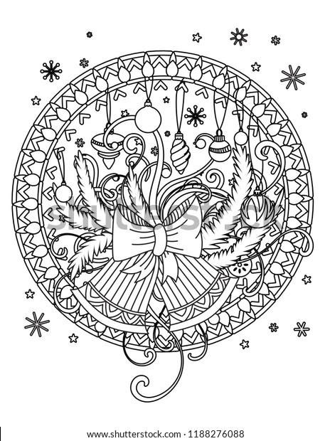 Christmas Mandala Coloring Page Adult Coloring Stock Vector Royalty Free 1188276088