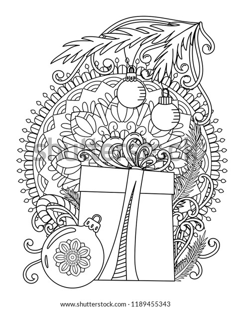Christmas Mandala with Baubles coloring page | Free Printable ... | 620x464