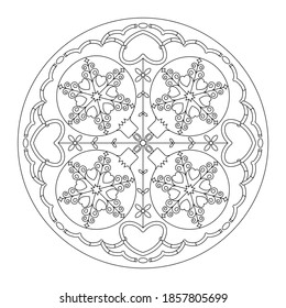 Mandala de Noël. Page de coloriage. Jolies balles et coeurs de Noël. Noir et blanc. Illustration vectorielle.