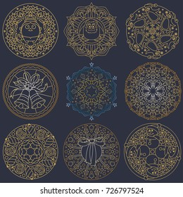 Christmas Mandala Ornaments Set. Great for Winter and Xmas Projects.