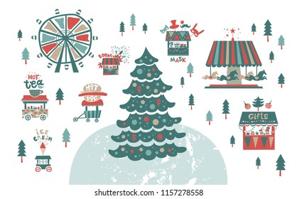 Christmas market, fair, winter festival  Set. Happy New year inscription. Christmas tree, trucks with gifts and food, a Ferris wheel, garlands, horses carousel, Shooting gallery, fireworks, masks shop