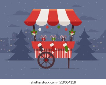 Christmas Market . Flat Design Style.