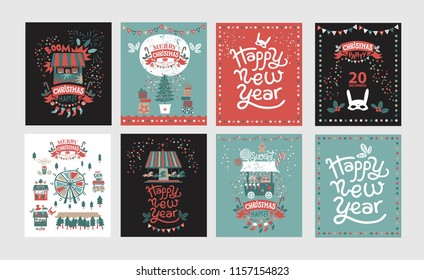 Christmas market, Happy New year and Merry Christmas poster or card set with festive decor, garlands, Christmas sweets, Christmas trees, socks, masks, trucks with gifts and food, fireworks