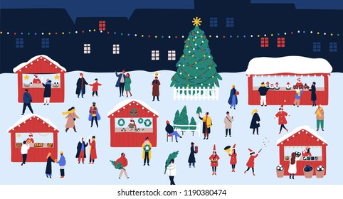 Christmas market or holiday outdoor fair on town square. People walking between decorated stalls or kiosks, buying snacks and drinking mulled wine. Colorful vector illustration in flat cartoon style.