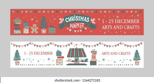 Christmas Market Poster Set Christmas Market Emblem Sign Christmas Market Poster Template
