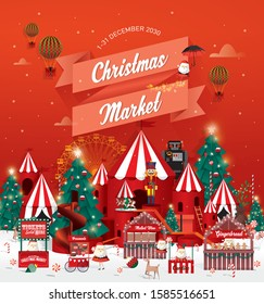 Christmas market poster. template vector/illustration.