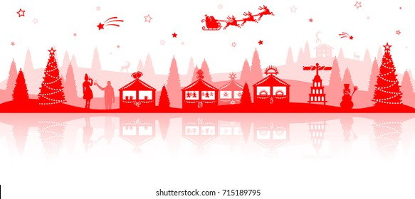 christmas market skyline red