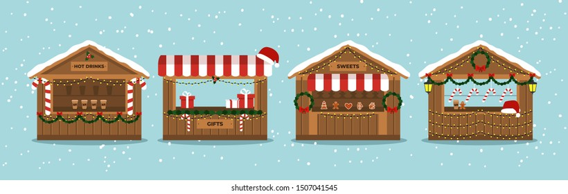 Christmas Market Stalls. Outdoor festival stand. Kiosks. Souvenir kiosk. Winter. Vector