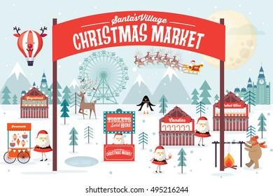christmas market vector/illustration