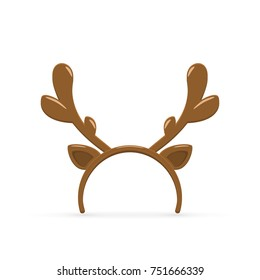 Christmas mask with brown reindeer antler isolated on white background, illustration.