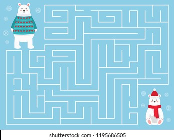 Christmas maze game for children. Help the mother bear find her Polar bear baby. Cute cartoon characters. Preschool educational game. Vector illustration.