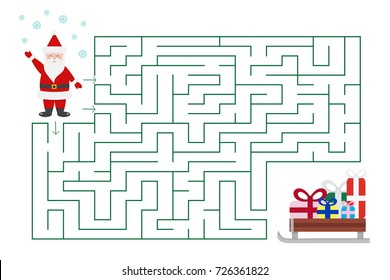 Christmas maze game for preschool and school kids. Santa is looking for gifts. Cartoon vector illustration.