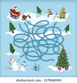 Christmas maze. Kids labyrinth. Cartoon game: search the path. Help Santa find the way to xmas tree. Winter holiday quest. Vector illustration