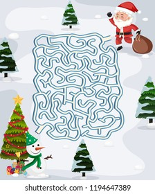 Christmas maze puzzle game template illustration