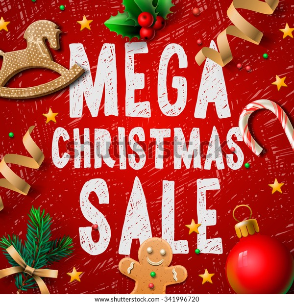 Christmas mega sale background, promotional poster for Christmas sale, vector illustration.