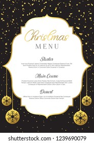 Christmas menu background with confetti and baubles design