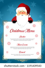 Christmas menu design with a cute Santa on a snowflake background