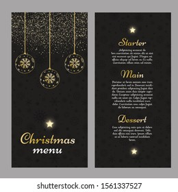 Christmas menu with an elegant gold and black design