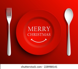 Christmas menu plate red dinner fork