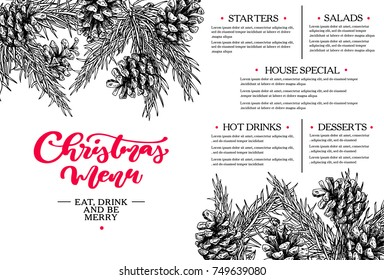 Christmas menu.  Restaurant and cafe template. Vector hand drawn illustration with fir tree, evergreen, pine cone. Engraved traditional xmas botanical decoration. Food and drink brouchure.