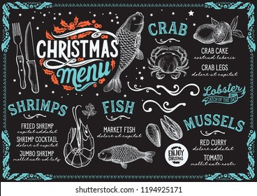 Christmas menu for seafood restaurant on a blackboard vector illustration brochure for xmas dinner celebration. Design poster with vintage lettering and holiday hand-drawn graphic decorations.