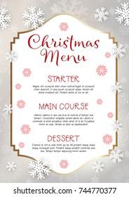 Christmas menu with snowflake design