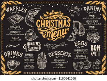 Christmas menu template for brunch on a blackboard vector illustration brochure for xmas dinner celebration. Design poster with vintage lettering and holiday hand-drawn graphic decorations.