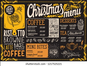 Christmas menu template for coffee house on a blackboard background vector illustration brochure for xmas day celebration. Design poster with vintage lettering and holiday hand-drawn graphic.