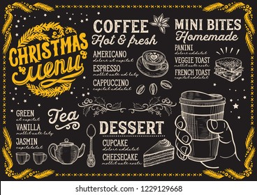 Christmas menu template for coffee shop on a blackboard background vector illustration for xmas day celebration. Design poster with vintage lettering and holiday hand-drawn graphic decorations.