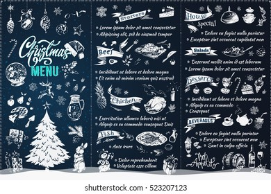 Christmas menu. template, isolated vector. vintage. icon, calligraphy & sketches - xmas, food, drinks, dessert, tree, snowflakes, toys, chalk. Restaurant Menu Design