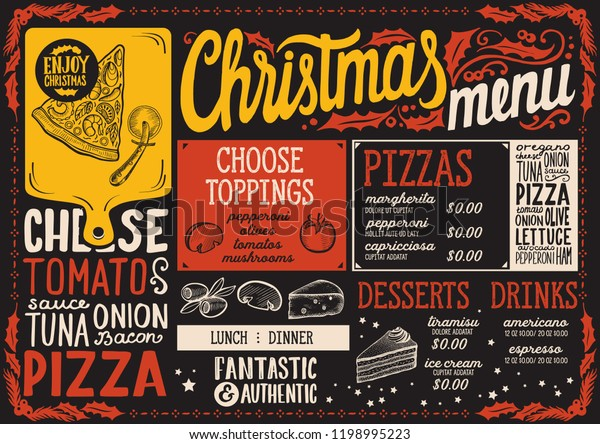 Pizza Places Open On Christmas.Christmas Menu Template Pizza Restaurant Cafe Stock Vector