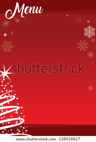 christmas menu template with red background and decorations - Christmas Menu Template