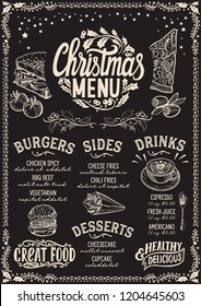 Christmas menu template for restaurant and cafe on a blackboard background vector illustration food brochure for xmas dinner celebration. Design poster with vintage lettering and hand-drawn graphic.
