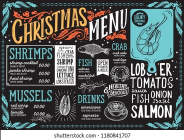 Christmas menu template for seafood restaurant and cafe on a blackboard vector illustration brochure for xmas dinner celebration. Design poster with vintage lettering and holiday hand-drawn graphic.