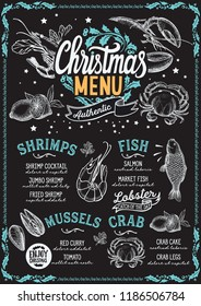 Christmas menu template for seafood restaurant and cafe background vector illustration brochure for xmas dinner celebration. Poster with vintage lettering and holiday hand-drawn graphic decorations.