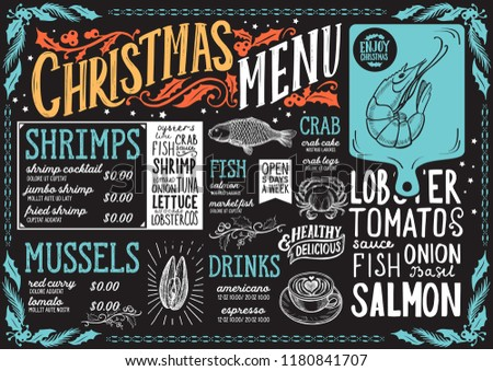 christmas menu template for seafood restaurant and cafe on a blackboard vector illustration brochure for xmas