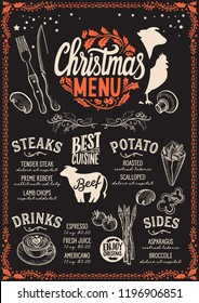 Christmas menu template for steak restaurant and cafe on a blackboard background vector illustration brochure for xmas dinner celebration. Poster with vintage lettering and holiday hand-drawn graphic.