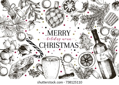 Christmas menu. Vector sketched vintage style banner.Holiday restaurnat promotion. Xmas decorations and food. Cotton, gingerbread cookies, cocoa, wine, vegetables. New Year party. Business promotion
