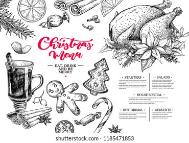Christmas menu. Winter restaurant and cafe sketch template. Vector hand drawn illustration with holly, mistletoe, poinsettia, pine cone, mulled wine, fir tree. Engraved traditional xmas food.