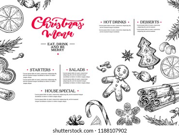 Christmas menu. Winter restaurant and cafe sketch template. Vector hand drawn illustration with  pine cone, gingerbread man cookies, fir tree, candy and spices. Engraved traditional xmas food.