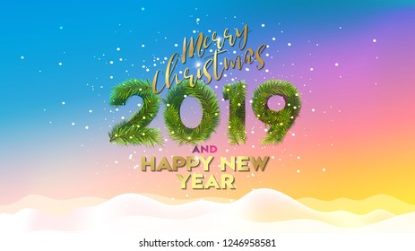 Christmas. Merry Christmas and Happy New Year 2019. Vector illustration concept for background, greeting card, website and mobile website banner, party invitation card, social media banner, marketing