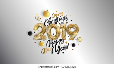 Christmas. Merry Christmas and Happy New Year 2019. Vector concept for background, greeting card, website and mobile website banner, party invitation card, social media banner, marketing material
