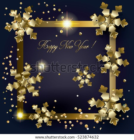 merry christmas and happy new year greeting card with gold snowflakes and glitter