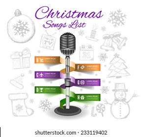 Christmas Microphone infographics. Vector illustration with drawing background