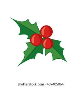 Christmas mistletoe icon in flat style isolated on white background. Vector illustration.